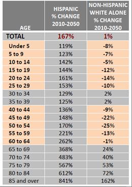 U.S. hispanic vs. non hispanic age breakdown 2010-2050
